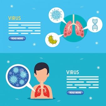 Establecer banners de coronavirus 2019 ncov
