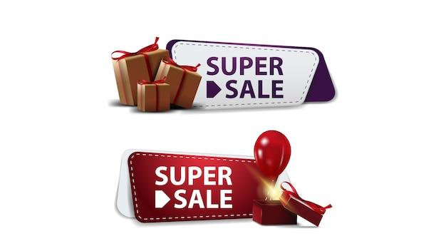 Establecer banners de descuento con cajas de regalo aisladas en blanco