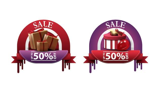 Establecer banners de descuento de círculo con cajas de regalo aisladas en blanco