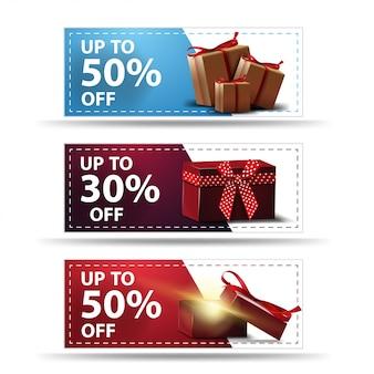 Establecer banners de descuento con regalos aislados en blanco