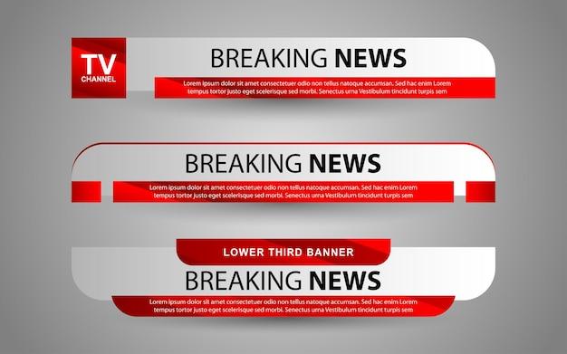 Establecer banners y tercios inferiores para el canal de noticias con color blanco y rojo.