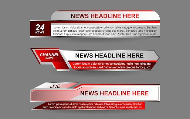 Establecer banners y tercios inferiores para el canal de noticias con color rojo y blanco.