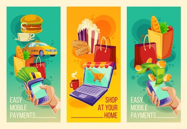 Establecer banners vectoriales que muestran la facilidad y la comodidad de los pagos en línea en el estilo de dibujos animados