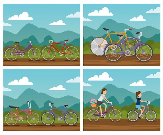 Establecer bicicleta en paisaje natural