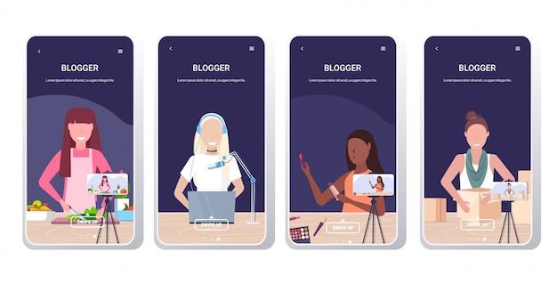 Establecer bloggers grabando vloggers de video en línea haciendo transmisión en vivo transmisión redes sociales redes blogging concepto smartphone pantallas colección horizontal