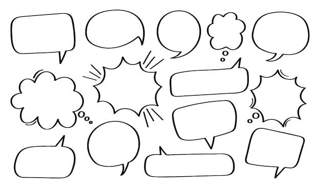 Establecer bocadillo de diálogo dibujado a mano o burbuja de chat.