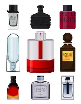 Establecer botella de perfume realista sobre fondo blanco.