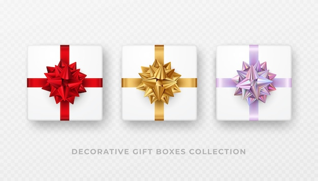 Establecer caja de regalo blanca decorativa con lazo y cinta aislado sobre fondo transparente