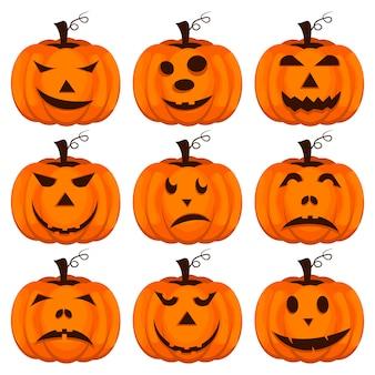 Establecer calabazas para halloween.