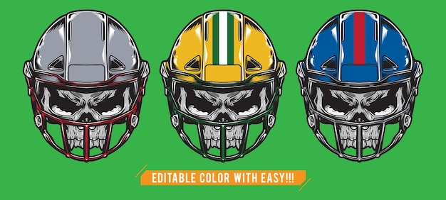 Establecer calavera de fútbol americano con casco