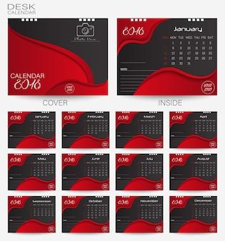 Establecer el calendario de escritorio rojo 2018