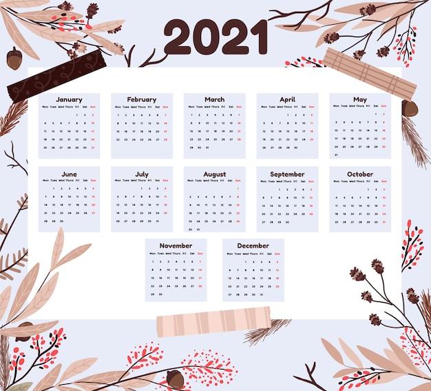 Establecer calendario temático navideño 2021 estilo escandinavo