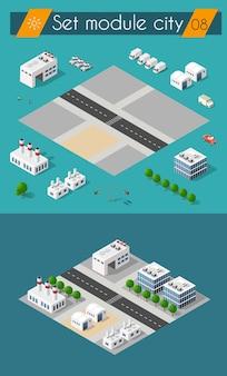 Establecer la calle de la ciudad del paisaje urbano 3d. vista isométrica