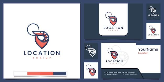 Establecer camarón de ubicación de logotipo con inspiración de diseño de logotipo de concepto de color de línea
