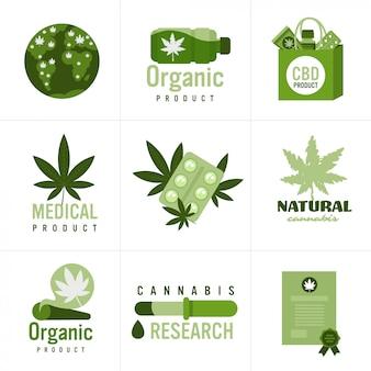 Establecer el cannabis medicinal o la marihuana producto natural de la legalización del ganja concepto de consumo de drogas de hoja de cáñamo