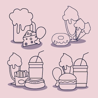 Establecer el carácter de comida rápida deliciosa