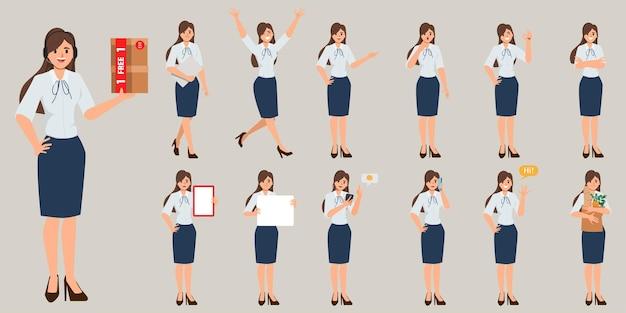 Establecer el carácter de la mujer de negocios en la rutina del trabajo