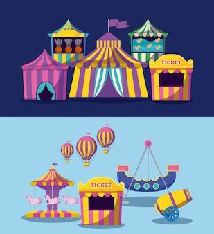 Establecer carpas de circo con guirnaldas icono aislado