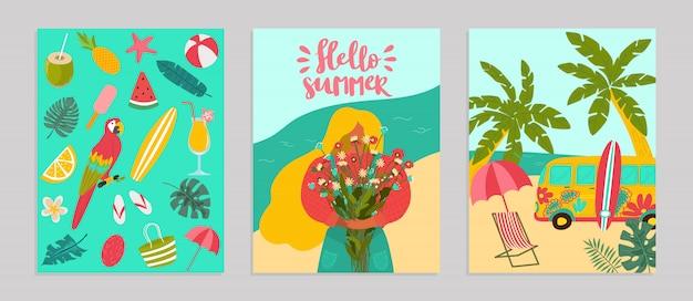 Establecer cartel hola verano concepto banner, patrón tropical caliente relajarse ilustración. publicidad de flyer de surf, descanso en el océano junto al mar.
