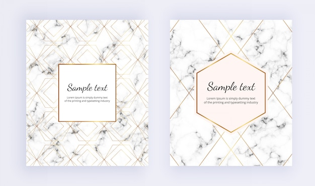 Establecer cartel minimalista, textura de mármol blanco con línea dorada y marco