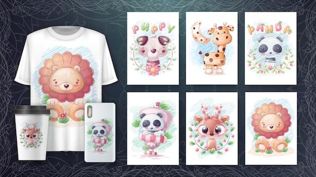 Establecer cartel de personaje de dibujo a lápiz y merchandising