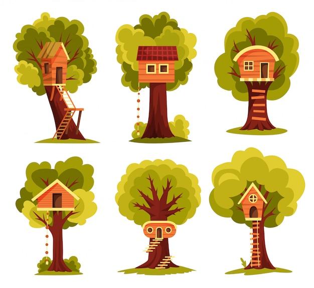 Establecer casa del árbol. parque infantil con columpio y escalera. ilustración de estilo plano casa del árbol para jugar y fiestas. casa en árbol para niños. ciudad de madera, parque de cuerdas entre follaje verde