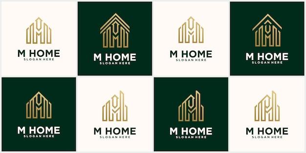 Establecer casa creativa letra m, plantilla de logotipo de bienes raíces