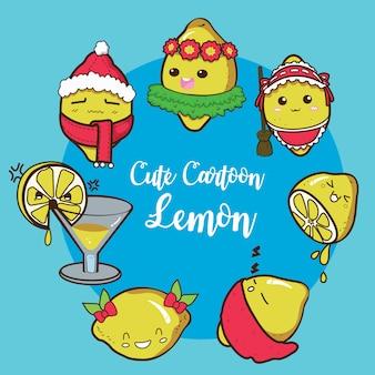 Establecer charracter lindo de dibujos animados de limón.