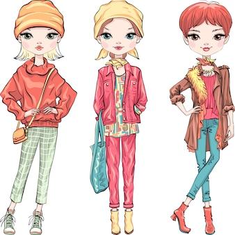 Establecer chica de moda en ropa de otoño
