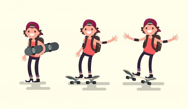 Establecer chico montando en una ilustración de patineta