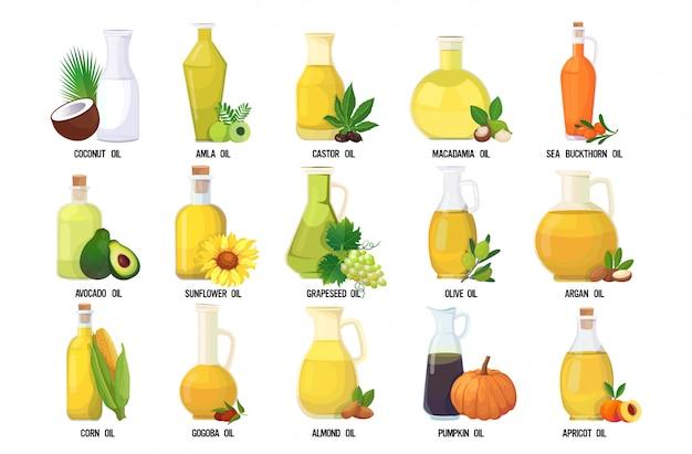 Establecer la colección de botellas de vidrio de aceite fresco con diferentes verduras orgánicas y nombres de frutas aisladas sobre fondo blanco horizontal