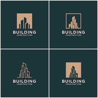 Establecer colección construcción de paquete de diseño de logotipo construcción.