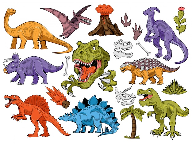Establecer colección de grabado, estilo de dibujos animados, dinosaurios dibujados a mano, volcán, palmeras, plantas, hueso.