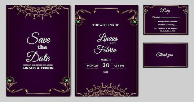 Establecer colección hermosa plantilla de tarjeta de invitación de boda de lujo