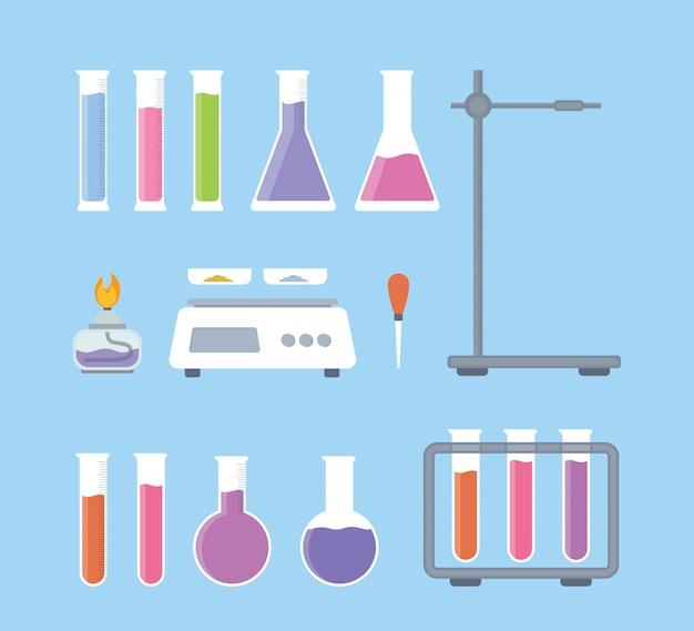 Establecer colección de herramientas de ciencia de laboratorio con varias formas