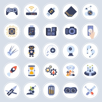 Establecer colección de iconos de diferentes tecnologías plana aislada