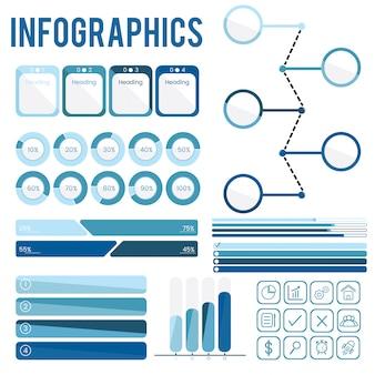 Establecer colección de infografías azules