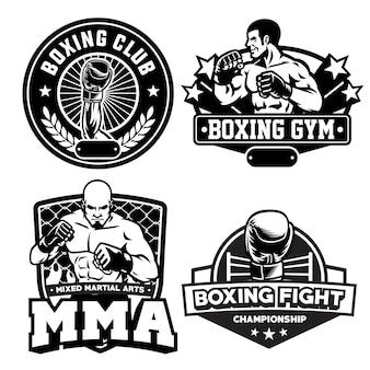 Establecer colección de insignias de boxeo en blanco y negro