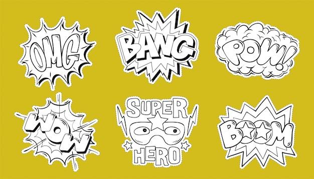 Establecer colección de letras de explosión de estilo cómic de emociones omg, boom, bang, pow, wow ilustración de doodle de dibujos animados para diseño de impresión.