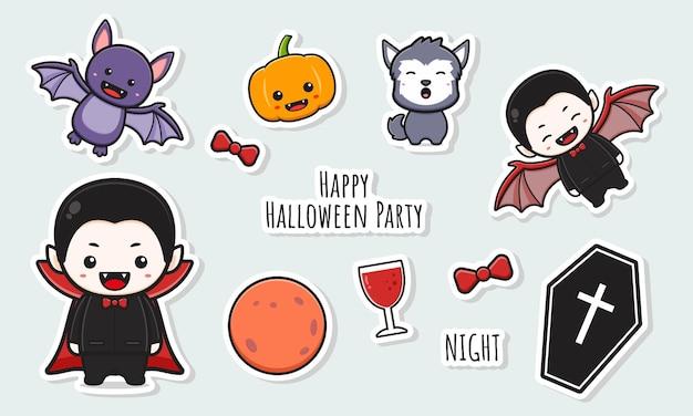 Establecer colección de pegatinas de halloween lindo drácula con objeto doodle dibujos animados ilustración de arte de clip Vector Premium