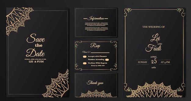Establecer colección plantilla de tarjeta de invitación de boda de lujo