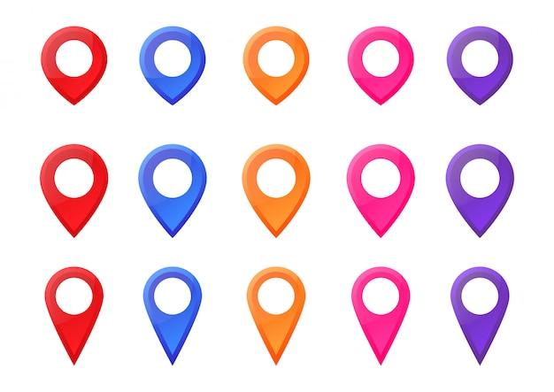 Establecer colorido mapa puntero ubicación pin icono marcador vector ilustración.