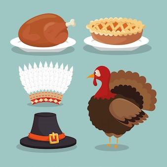 Establecer comida sombreros concepto acción de gracias
