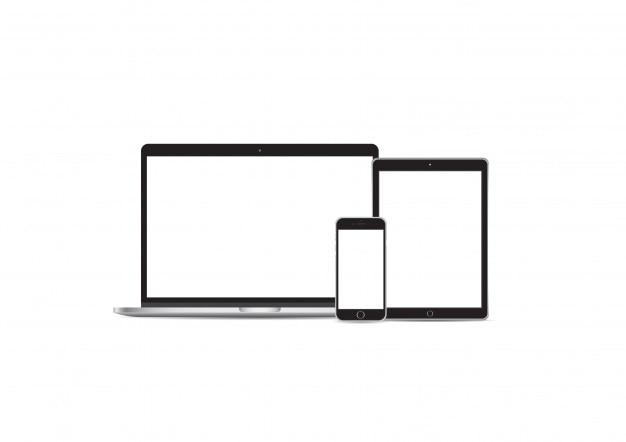 Establecer computadora portátil iphone ipad maqueta vector