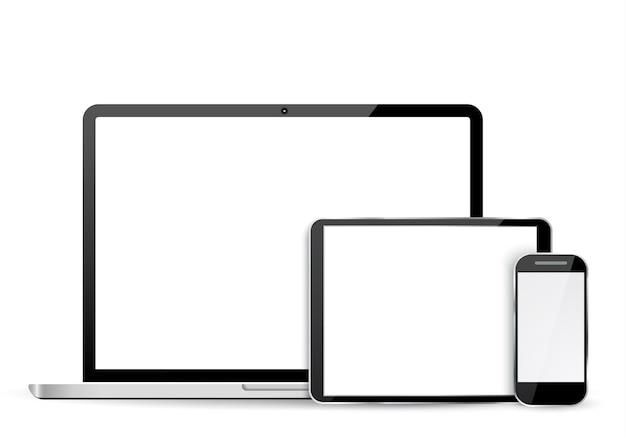 Establecer computadora portátil, tableta y teléfono móvil