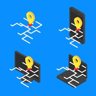 Establecer el concepto de mapa en línea isométrica. vector gps en línea en el icono de dispositivos modernos de pantalla