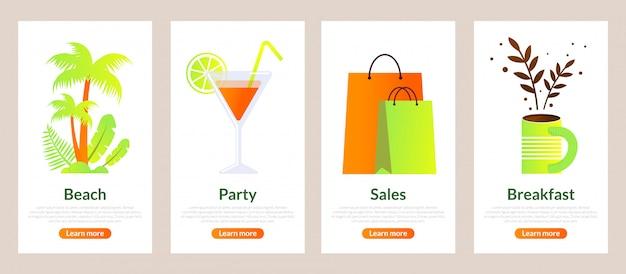 Establecer conjunto de banners de playa, fiesta, venta y desayuno.