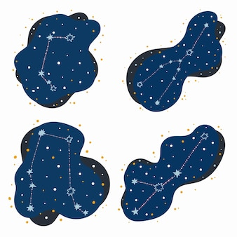 Establecer constelación linda signos del zodíaco aries, tauro, géminis, cáncer. garabatos, estrellas dibujadas a mano y puntos en el espacio abstracto. ilustración vectorial.