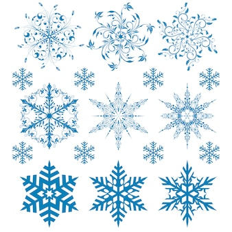 Establecer copos de nieve de invierno