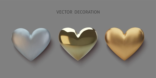 Establecer corazón realista de oro y plata